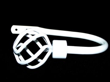 Large Gloss White Twisted Cage Curtain Tiebacks / Holdbacks.